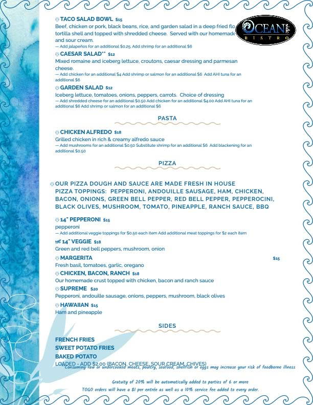 lunch and dinner menu of oceanside bistro