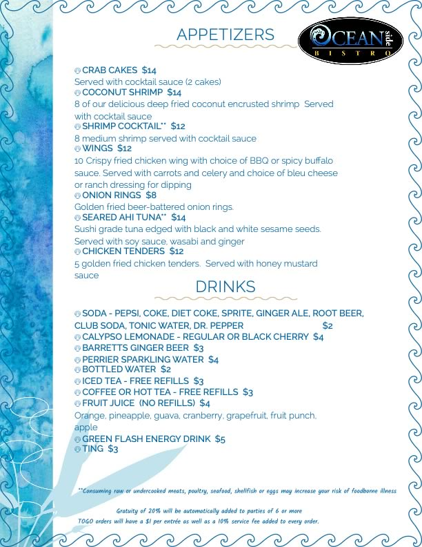 appetizer menu of oceanside bistro